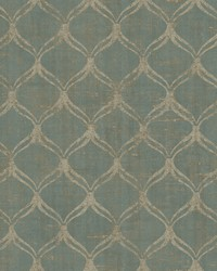 Bowery Teal Ogee Wallpaper by  Brewster Wallcovering