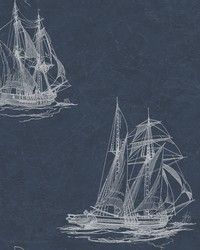 Hudson Bay Navy Nautical Wallpaper by  Brewster Wallcovering
