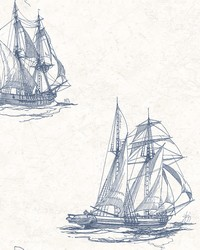 Hudson Bay Blue Nautical Wallpaper by  Brewster Wallcovering