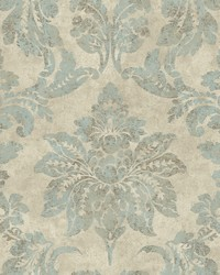 Astor Turquoise Damask Wallpaper by