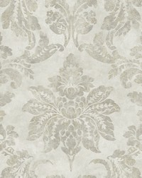 Astor Silver Damask Wallpaper by
