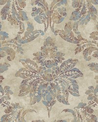Astor Burgundy Damask Wallpaper by