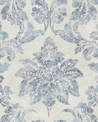 Astor Blue Damask Wallpaper by