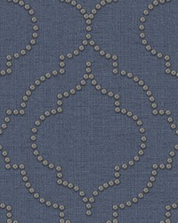 Chelsea Blue Quatrefoil Wallpaper by