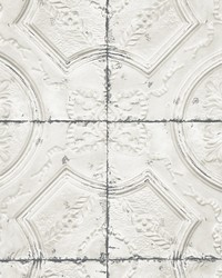 Deerfield Off-White Vintage Tin Tile Wallpaper by