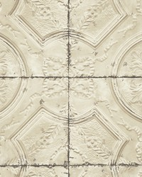 Deerfield Beige Vintage Tin Tile Wallpaper by