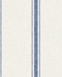 Linette Blue Fabric Stripe Wallpaper by