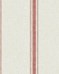 Linette Burnt Sienna Fabric Stripe Wallpaper by