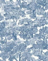 Spinney Blue Toile Wallpaper by