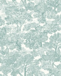 Spinney Teal Toile Wallpaper by