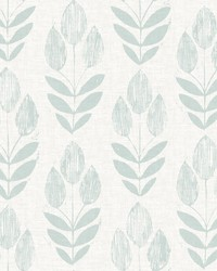 Garland Teal Block Tulip Wallpaper by