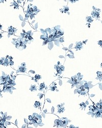 Cyrus Blue Floral Wallpaper by