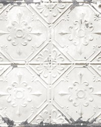 Gallery Off-White Vintage Tin Tile Wallpaper by