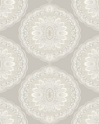 Bolinas Grey Medallion Wallpaper by