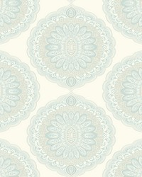 Bolinas Aquamarine Medallion Wallpaper by