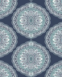 Bolinas Navy Medallion Wallpaper by