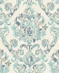 Shasta Teal Damask Wallpaper by
