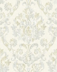 Shasta Grey Damask Wallpaper by