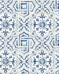 Sonoma Blue Spanish Tile Wallpaper by