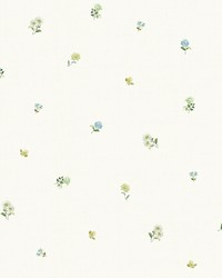 Bloom Toss Blue Floral Wallpaper by