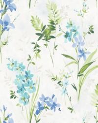 Henrietta Blue Floral Wallpaper by