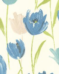 Finch Blue Hand Painted Tulips by