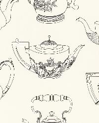 Valie Black Vintage Teapot Texture by  Brewster Wallcovering