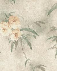 Segal Green Textured Floral Trail by  Brewster Wallcovering