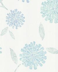 Davenport Blue Modern Floral by  Brewster Wallcovering