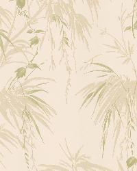 Merrick Green Satin Leaf Motif by  Brewster Wallcovering