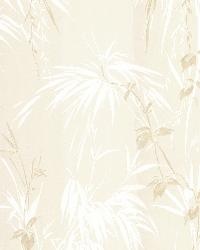 Merrick Beige Satin Leaf Motif by  Brewster Wallcovering