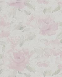 Stafford Pink Satin Floral by  Brewster Wallcovering