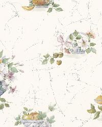 Coover Blue Fruit Floral Toss by  Brewster Wallcovering