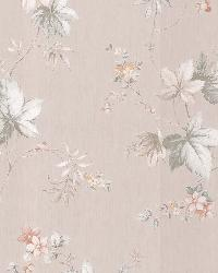 Lamott Beige Satin Floral Trail by  Brewster Wallcovering