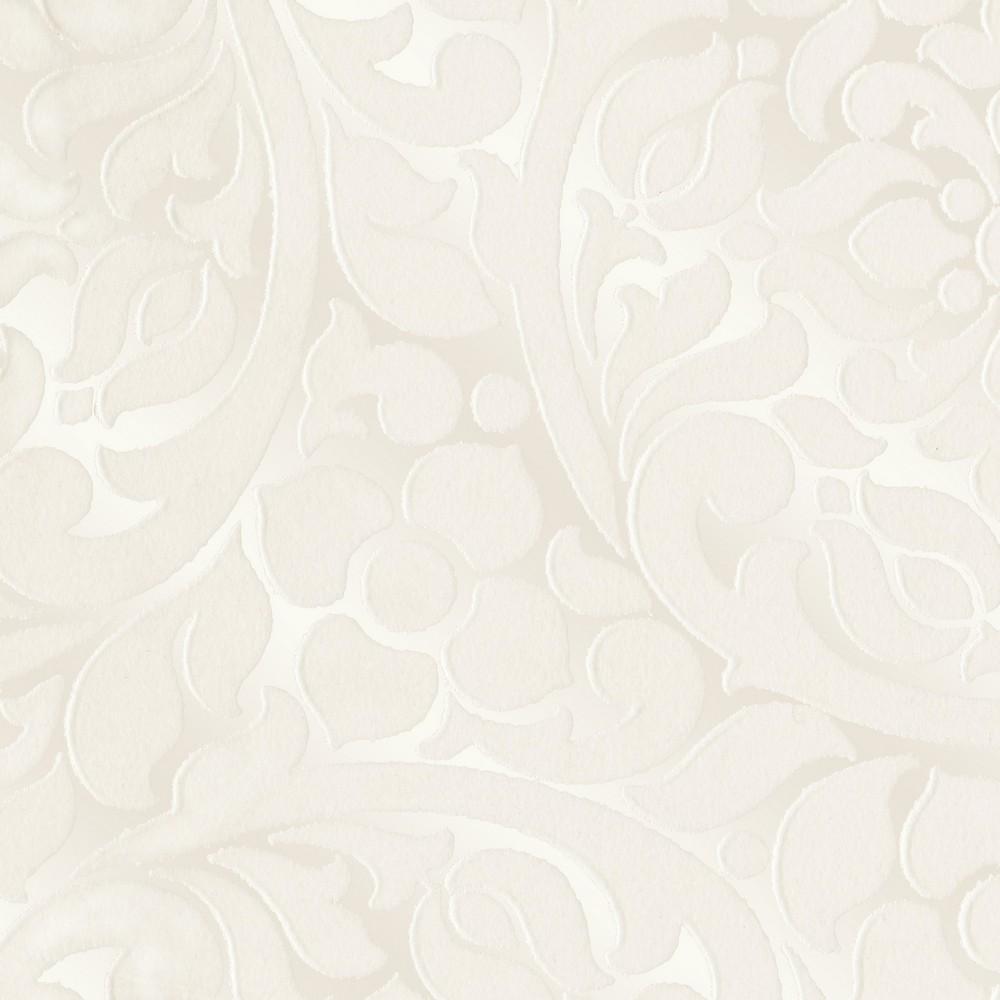 Cascada cream flocked medallion wallpaper brewster wallcovering - Cream flock wallpaper ...