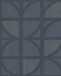 Tulip Dark Blue Geometric Trellis Wallpaper by