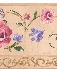 Ilena beige Floral Trail Border by