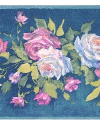 Rosa blue Floral Bouquet Border by  Brewster Wallcovering