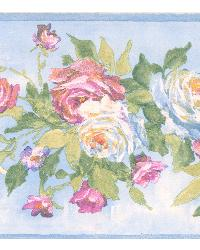 Rosa light blue Floral Bouquet Border by