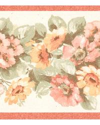 Maryanne peach Floral Garden Border by  Brewster Wallcovering