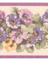 Maryanne purple Floral Garden Border by  Brewster Wallcovering