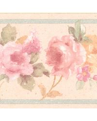 Luanne pink Floral Border by  Brewster Wallcovering