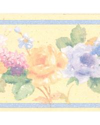 Luanne Yellow Floral Border by  Brewster Wallcovering