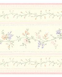 Lynn light pink Floral Stripe Border by