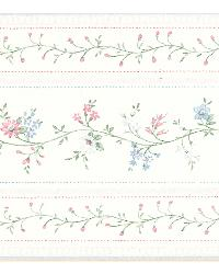 Lynn light blue Floral Stripe Border by