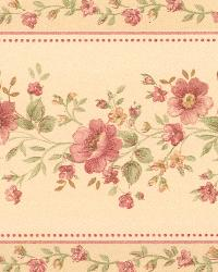 Linda Beige Floral Stripe Border by