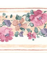 Gloria Beige Floral Border by  Brewster Wallcovering