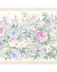 Caroline Green Floral Garden Border by  Brewster Wallcovering
