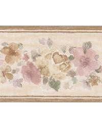 Sylvie Brown Floral Border by  Brewster Wallcovering
