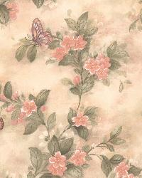 Mariposa Pink Butterfly And Floral Trail by  Brewster Wallcovering